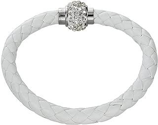 Necklace Necklaces لقلائد قلادة White Braided Bracelet Wristband Bangle Magnetic Clasp PU Rhinestone Chic 62mm گردنبند