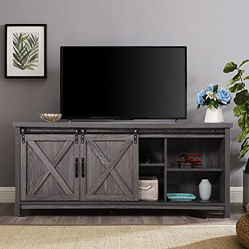 Farmhouse TV Stand Sliding Barn Door Wood Entertainment Center, Living Room Storage Cabinet Media Console w/Doors and Shelves TV's up to 65