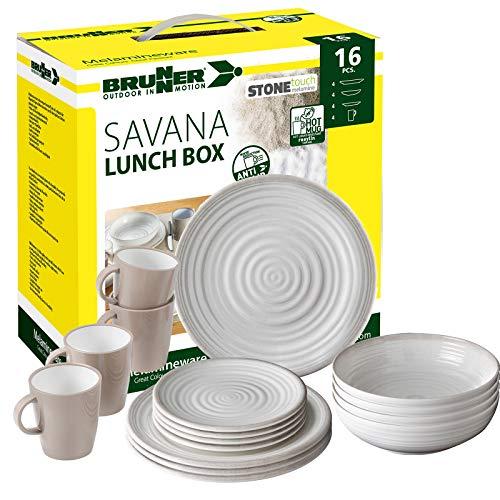 ?Brunner: Melamin-Geschirr Campinggeschirr (Antislip), 4 Personen (16 Teilig), Savana Lunch Box, Grill Und Picknick