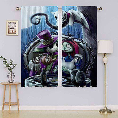 Cortinas opacas The Nightmare Before Christmas Jack Skellington Sally, filtrado de luz, cortinas para mantener la privacidad caliente para el pasillo de 42 x 54 pulgadas