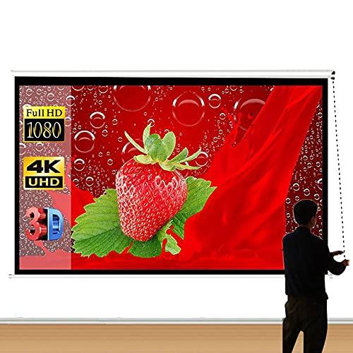 Tirar De La Mano Pantalla Proyector, 84IN 16: 9 HD 4K Pantalla De Proyección Interior Al Aire Libre (1,5 Ganancia, Ángulo De Visión De 160 °) Libre De Arrugas Plegables 3D