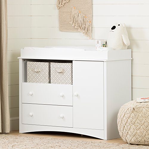 Great Deal! South Shore Peak Changing Table with 2 Drawers and open Storage Space, Drawer Changing Table