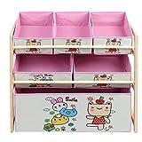 Ausla Kinderzimmerregal, DREI Schichten Spielzeugkiste Kinderkommode Kinderregal mit Boxen Aufbewahrung von Büchern und Spielzeug für Kinderzimmer