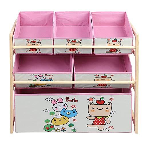Scaffale portaoggetti per giocattoli,Scaffale da Bambino con 3 Piani 6 Scatole Rimovibili,Mobile Portaoggetti per Bambini,in legno,adorabili dei cartoni animati rosa,65 x 30 x 60 cm