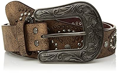 Nocona Belt Co. Women's Oval Center Stud Design Belt, brown, Small