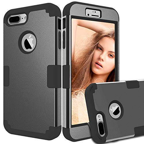 iPhone 8 Plus Case,iPhone 7 Plus Case,ZHOGTNEG 3-in-1 Design Heavy Duty Protection Phone Case with Anti-Scratch Shockproof Bumper Cover Case Compatible with iPhone 8 plus/7plus (Silver Black/Black)