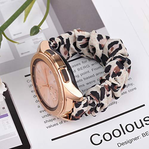 Ownaco Kompatibel mit Samsung Galaxy Watch3 41mm Armband Scrunchies Leopard Stoff Weiches Muster Bedrucktes Gewebe Ersatzarmbänder Frauen Elastische Scrunchy Bänder für Active2 40mm 44mm,Klein