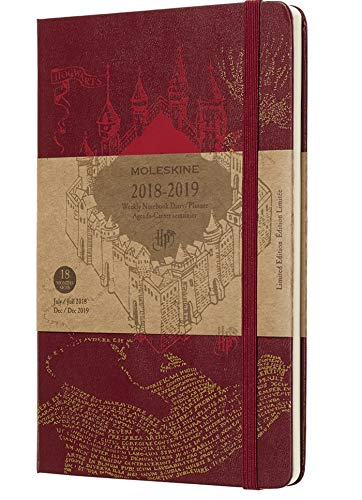 Moleskine DHP18WN3Y19 Wochen Notizkalender, Taschenkalender, Harry Potter, 18 Monate, 2018/2019, Large, A5, Hard Cover, Rot