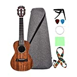 LingTing Concert Ukulele Solid Acacia 23 inch Ukulele Beginner kit with ukulele bag Capo strap and Picks