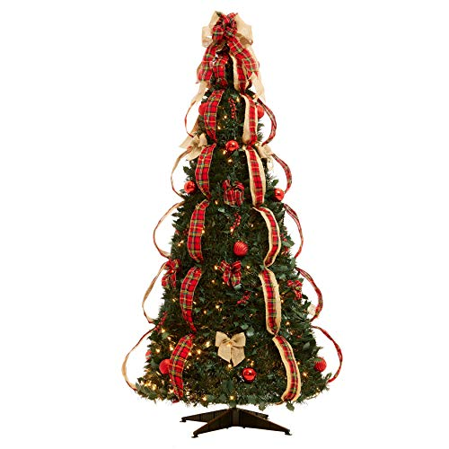 BrylaneHome Fully Decorated Pre-Lit 6-Ft. Pop-Up Christmas Tree, Plaid