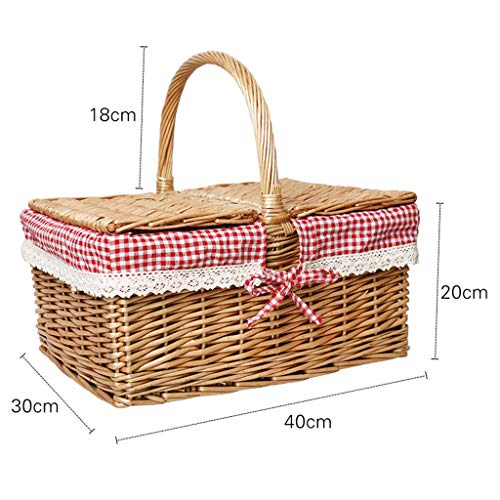 Rectangular Hand Made Picnic Basket, Natural Wicker Woven Camping Rattan Shopping Collection Storage Hamper With Lining and Handle for Outdoor Eco Friendly Well-Designed