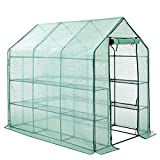 DAWOO Compact Walk In Plastic PE Greenhouse with 8 Shelves,& Strong Reinforced Cover (143 x 216 x 195 cm)