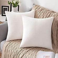 MIULEE 2 Unidades Fundas de cojín para sofá Almohada Caso de Diseño Compuesto de Polar Fleece Cómodo Decoración para Habitacion Juvenil Sofá Comedor Cama Dormitorio Oficina 45 x 45cm Blanca