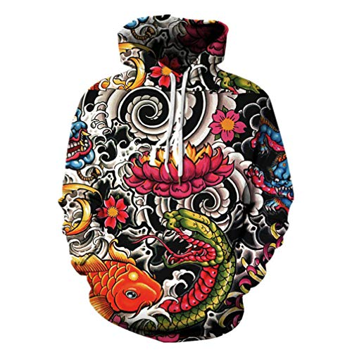 Chinese Style Antike Totems Harajuku Sweatshirts Sudaderas 3D Koi/Drache Hoodies Polyester beiläufige Pullover