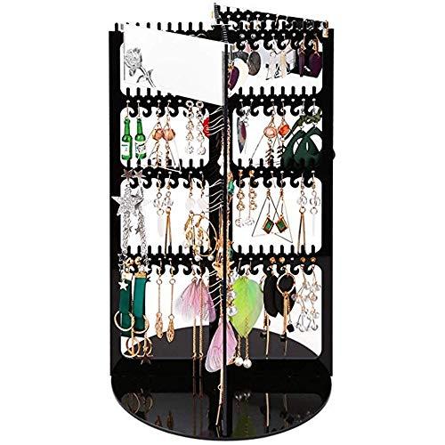 Lwieui Schmuckschrank 360 ° drehbarer Ohrring-Organizer - Premium-Acryl, großer 368er-Aufhänger, 4-stufiger Ohrringhalter, Halskette, Display-Rack, Stand-Turm mit 2 Spiegeln Spiegelschränke