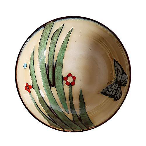 Zavddy Ensaladera de cerámica Pintado A Mano 2pcs Japonés Retro Ramen Tazón De Ensalada De Fruta Instantánea De Fideos Tazón Vajilla De Cerámica Cuenco de cerámica (Color : Marrón, Size : 6x20cm)