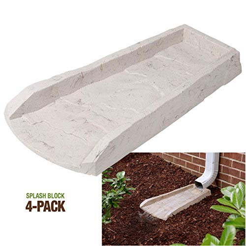 4-Pack Decorative Downspout Natural Stone Texture Splash Block Rain Gutter Drain Extender