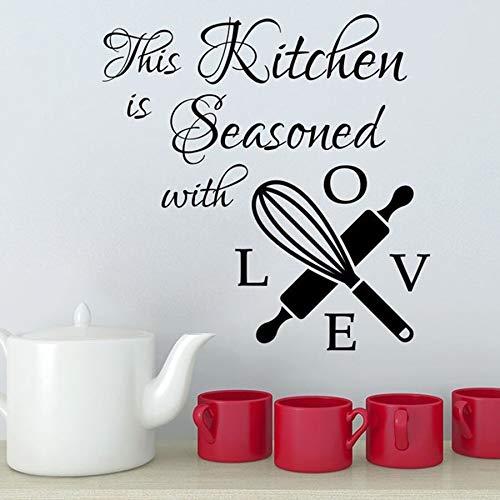 Calcomanías de pared para esta temporada de cocina con palabras de amor pegatinas de pared de cocina pegatinas de vinilo para pared texto mural artista decoración del hogar