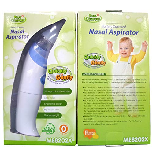 Baby Nasal Aspirator-Battery Operated Safe Hygienic and Quick Nose Cleaner for Newborn Toddlers with 2 Size of Nose Tips Nose Mucus Boogies Vacuum Cleaner