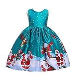 Taiduosheng Tollder 0-7 anni per bambine con stampa Babbo Natale, vestito da principessa di Natale Verde 2-3 Anni