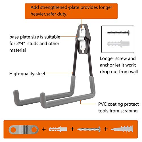 Garage Wall Hooks,Add Steel Reinforced Piece,Double Heavy Duty Storage Hangers for Organizing Ladder,Bike,Hoses,Garden Tool.(4 Set)