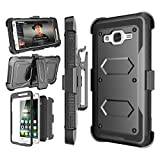 Njjex Galaxy On5 Case, for Galaxy On5 Belt Case, [Nbeck] Heavy Duty Built-in Screen Protector Rugged Holster Locking Belt Swivel Clip Cover Shell with Kickstand for Samsung Galaxy On5/ G550 [Black]