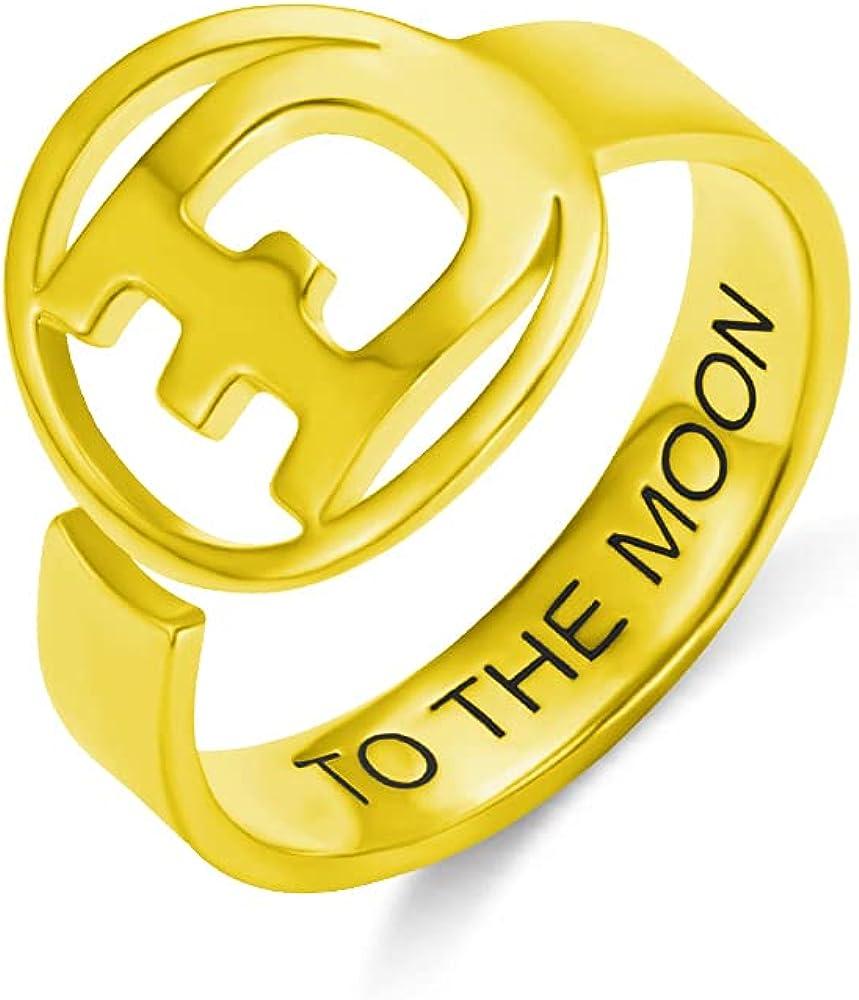 Mens Ring Dogecoin Symbol Commemorativ Open Circle Sales for Financial sales sale sale Monogram