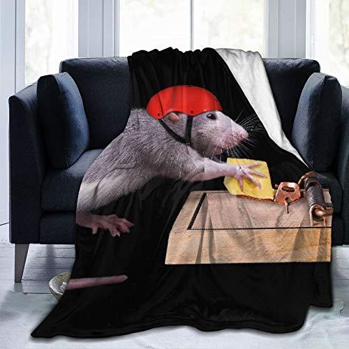 Nongmei Manta de Tiro Personalizada,Una Rata Intenta Robar un trozo de Queso Que es Cebo en una Trampa para Ratas,Manta de Felpa Suave para sofá,Dormitorio,Viaje,Manta mullida 60'X80'