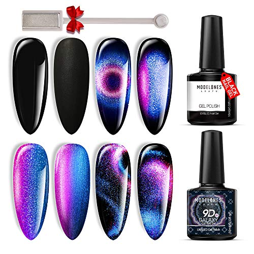 9D Galaxy Cat Eye Gel Polish Set Chameleon Magnetic Glitter Gel Polish Glitter Matte Top Coat Base Top Coat Shine Set10ml with Magnet Stick UV/LED Gel Nail Polish Set 2pcs