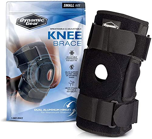 Dynamic Gear Open Patella Knee Brace, Dual Aluminum Stability Hinges - Padded Neoprene Adjustable Compression Support for Meniscus Tear, ACL, Strains, Knee Pain, Arthritis(Standard)