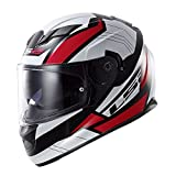 LS2 Stream Omega Full Face Motorcycle Helmet with Sunshield (Red,...