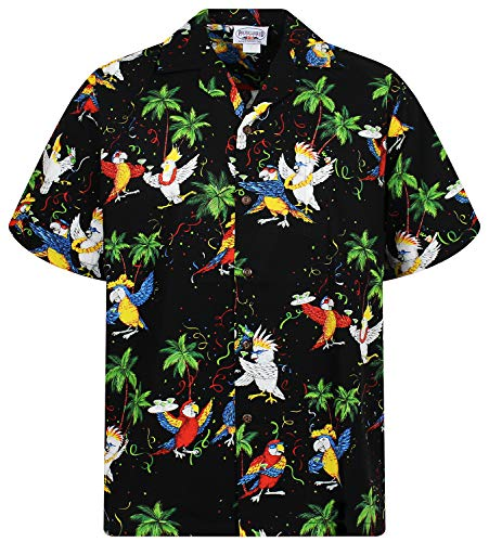 P.L.A. Original Camisa Hawaiana, Party Parrots, Negro M