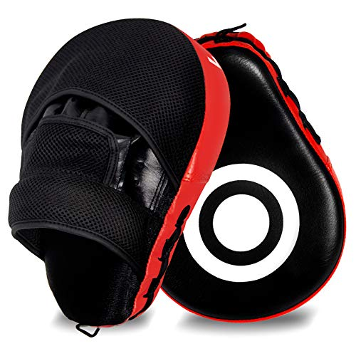 LARESDOMI 1 Paio Colpitori Boxe, Guanti da passata in PU per Boxe, Scudo Sciopero Pastiglie Pelle Focus Pads per l'addestramento di Kickboxing Muay Thai Boxe MMA Taekwondo