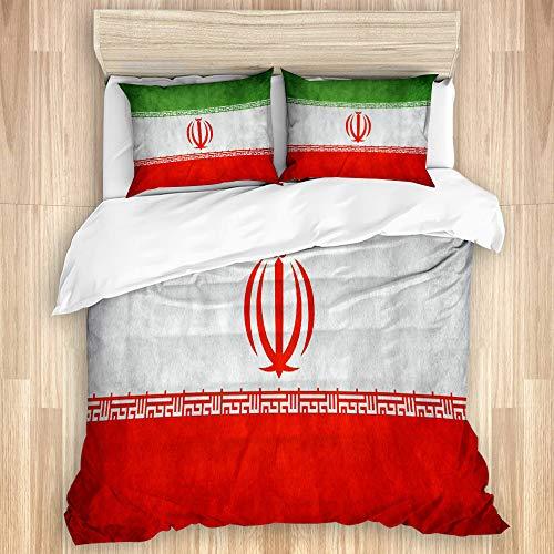 YZBEDSET Bettwäsche-Set,Flagge des Iran,1 Bettbezug 240 X 260cm + 2 Kopfkissenbezug 50 * 80cm
