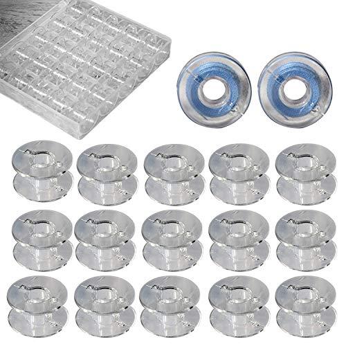 Maxure 36 pièces en plastique transparent canettes de machine à coudre avec étui pour Brother