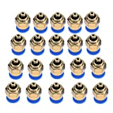 Conexiones rápidas neumáticas de tubo de aire de 4 mm, conector de empuje recto de rosca macho, conector rápido de codo neumático de 1/4 conector rápido, para conexión rápida(PC4-M5)