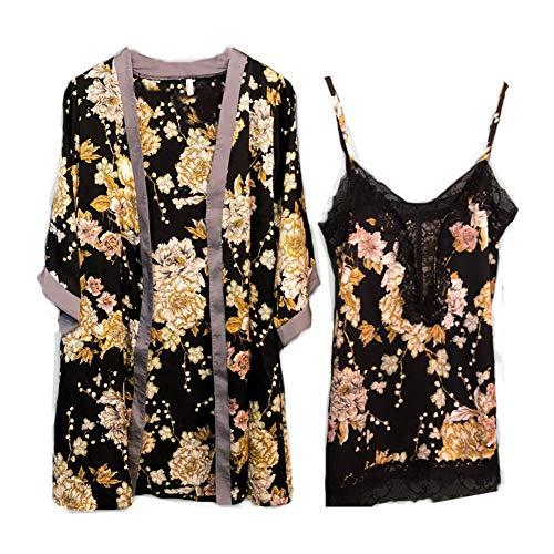 Nachtkleding Dames Sexy Zijden Satijnen Kamerjas Camisole Pyjama Jurk 2-delig Pak,Black,L