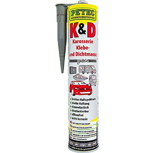 6x PETEC K&D Karosserie Klebe- und Dichtmasse Klebemasse Dichtmasse Karosseriekleber Klebstoff Kleber Kartusche 310ml grau