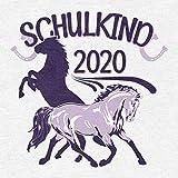 Einschulung & Schulanfang Schulkind 2020 Pferde Mädchen T-Shirt 128 Weiß - 3