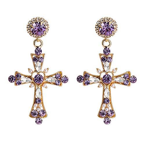 Exquisitos pendientes de diamantes con cruces de color púrpura, diseño metálico pesado, ambiente noble y diseño púrpura