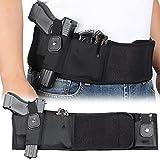 SIZIMA Funda de Pistola de Banda de Vientre Elástico Negro, para Transporte Oculto, Funda de Pistola Ajustable en la Cintura, Soporte...
