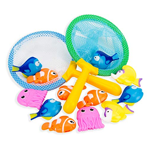 Boley Dive & Grab Fishing Game Set - 14 Piece Nets and Fish Bathtub Toys - Small Sinking Kids Bath Toys for Toddlers Ages 3 and Up - Yellow