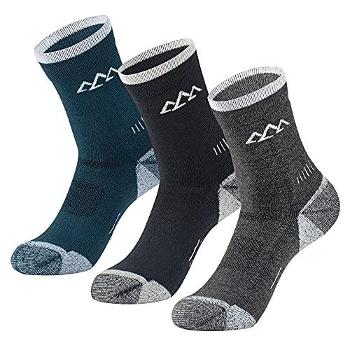 innotree 3 Pack Men's Merino Wool Hiking Socks, Full Cushioned Hiking Walking Socks Moisture Wicking Quarter Crew Socks