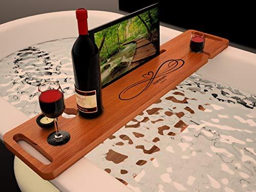 HAMMAM LONDON -Bandeja de baño, bandeja de bañera, soporte para copas de vino tabla de baño de lujo caja de baño de madera bandeja de bañera bandeja de bañera, madera contrachapada de abedul de 18mm