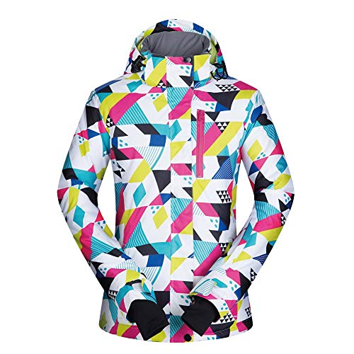 Damen Ski Jacken Frauen-bunter Druck mit Kapuze Schnee Jacken-Mantel-windundurchlässige wasserdichte Skifahren-Jacke Anzug Snowboard-Jacke wasserdichte warme Winter Gefütterte Jacke