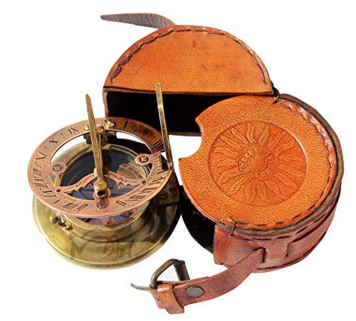 MARINE ART HANDICRAFTS Hecho a Mano latón Bolsillo de Reloj de Sol brújula–Reloj Solar latón–antigüedades Oeste de Londres. Regalo Hermoso Tema. C-3058
