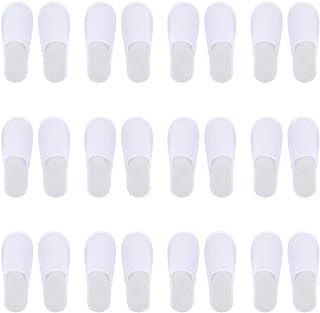 Beaupretty 12 pares de chinelos descartáveis de lã de coral, antiderrapante, fechado, spa, chinelos para ambientes interno...