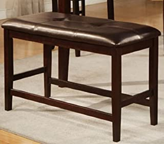 Counter Height Bench with Tufted-Butto in Brown Finish