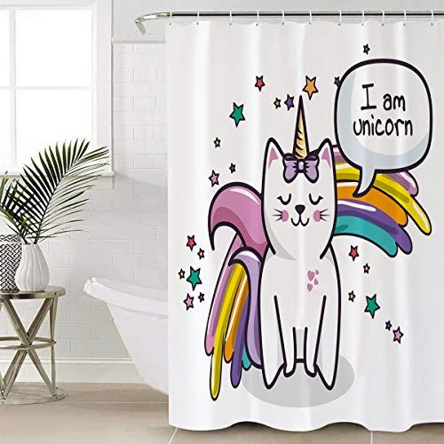 GirlsUnicorn Shower Curtain for Bathroom, Magic Cartoon Unicorn with Rainbow Bath Curtains, Girl Nursery Bathroom Kids Decor for Teen Girls Design Polyester Fabric Shower Curtain, 36