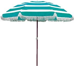 BAKAJI Ombrellone da Mare Spiaggia Giardino 180 cm con Palo in Acciaio Effetto Legno Rivestimento Tessuto Anti UV con Tracolla e Custodia (Azzurro 180)
